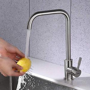 GRIFEMA G4009 Irismart Rubinetto da Cucina Alto Miscelatore Monocomando per Lavello con Beccuccio Girevole a 360  Acciaio Grigio Senza Doccia