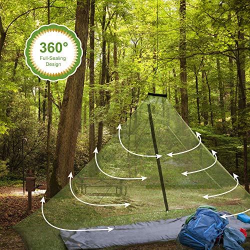 GWHOLE Zanzariera per Campeggio Letto Singolo Rete per Insetti Portatile per attivit Indoor Allaperto con 4 Pioli e 1 Custodia per Campeggio Escursionismo Pesca