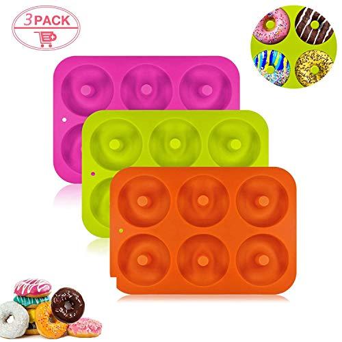 HENJI Silicone Ciambelle Stampo 2 Pezzi Silicone Donut Teglia Antiaderente Senza BPA Adatto per Lavastoviglie Forno Microonde Freezer Arancia