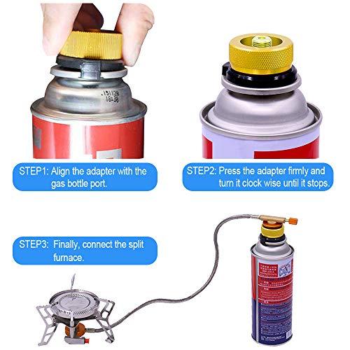 Heqishun 2 Pezzzi Autooff Adattatore per fornello a Gas da Campeggio Adattatore per Stufa per Bombola di Butano per Avvitare la Cartuccia del Gas