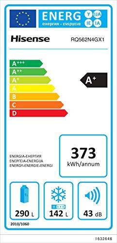 Hisense RQ562N4GX1 Frigorifero 4 porte Total No Frost Classe Energetica A Capacit 432 L 43 Decibel Finitura Vetro Bianco
