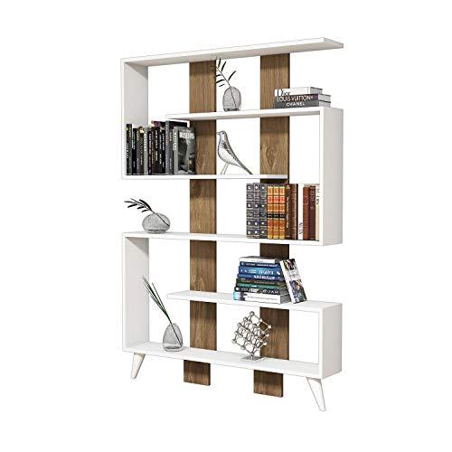 Homemania Libreria Jane Legno BiancoNoce 120 x 22 x 164 cm