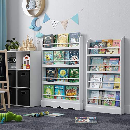 Homfa Libreria da Muro Mobile Portalibri per Bambini Scaffale Porta Libri da Parete 4 Ripiani in Legno Bianco 60 x 12 x 1085 cm