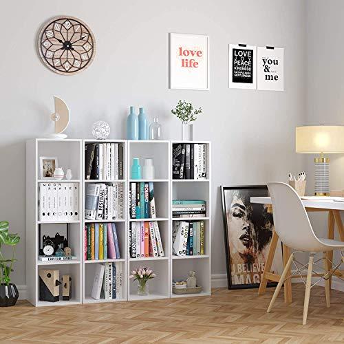 Homfa Libreria Mobile per Archiviazione con Mensola in Legno Scaffale Cubo per Libri Bianco 30x30x106cm