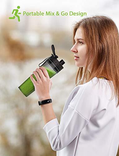 homgeek Mini Frullatore Blender Smoothie Maker Mixer per Frullati Frapp Frutta e Verdura con Portatile Bottiglie in Tritan senza BPA da 500 ml 300 Watt 25000 girimin nero nuova versione