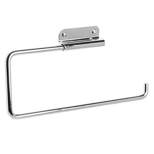 iDesign Portarotolo cucina Porta rotoli cucina per un rotolo di carta Portarotolo cucina da parete in metallo con braccio oscillante argento