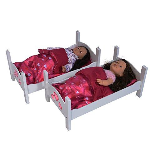Il letto a castello per bambole Twin Collection della New York Doll  disponibile in un pezzo di colore bianco da 18 pollici