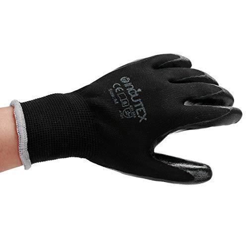 Incutex 12 paia guanti da lavoro guanti da montaggio guanti meccanico guanti costruzione con rivestimento in nitrile taglia 8 M