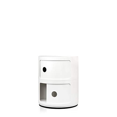 Kartell Componibili Contenitore 2 Elementi Base Tonda ABS Bianco 32 x 32 x 40 cm