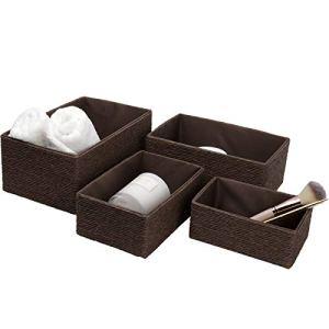 La Jole Muse  Set di 4 cestini impilabili in corda di carta intrecciata contenitori per trucchi armadio bagno camera da letto colore Marrone