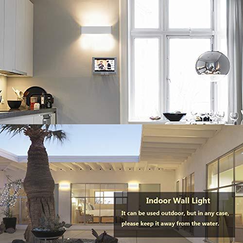 Lampada da Parete 12W Bianco Caldo LED Applique da Parete con Stile ModernoUp Down Interni Lampada a Muro per Decorazione in Alluminio Perfetto per Soggiorno Corridoio Bagno Le Scale Luce Notturna