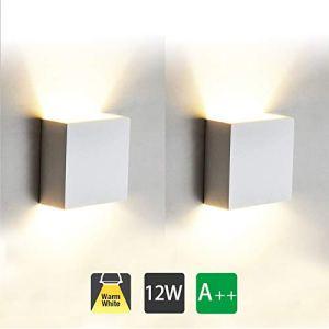 Lampada da Parete Led Interno 2 Pezzi 12W Bianco Caldo LED Applique da Parete ModernaUp Down Lampada a Muro in Alluminio Perfetto per Soggiorno Corridoio Bagno
