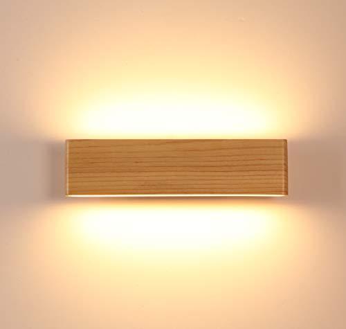 Lampade da pareteModerno Up Down Applique da PareteLampada da Parete LED Legno per CorridoiobagnoScalaCamera da Letto 32CM