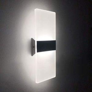 LED Lampada da Parete Interno 12W Bianco Freddo Moderno Applique da Parete Interni Lampada a Muro in Acrilico Perfetto per Soggiorno Corridoio Bagno Le Scale Luce Notturna