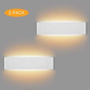 LEDMO 2 Pezzi 12W Lampada da Parete Interno Moderno 36CM LED Lampade da Parete Bianco Caldo 3000K Applique da Parete per Perfetto per Soggiorno Corridoio Bagno Le Scale Luce Notturna