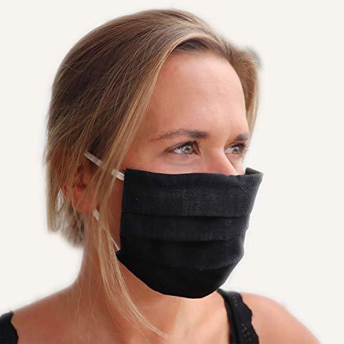 LIEVD mascherine lavabile transpirante unisex nera I protezione viso riutilizzabile antipolvere I 100 cotone per adulto e bambini I diversi colorata e dimensiono