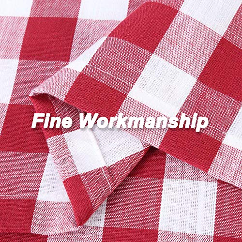 Lintimes Buffalo Check Gingham borsa in tessuto con mantovana regolabile tenda plaid con animali pronta per la cucina e il bagno Tessuto Colore rosso TIER 71x61cm