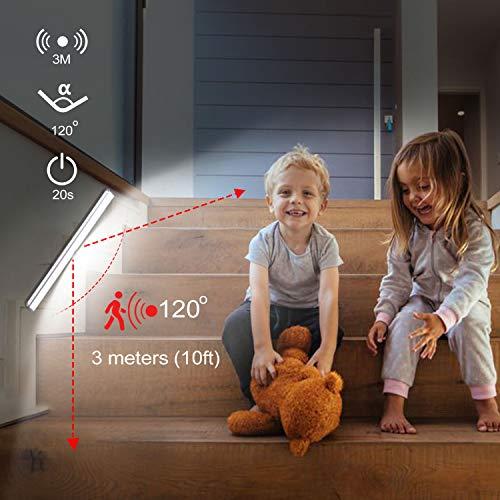 Luce led armadio Tanbaby 24 LED Luce per Armadio Sensore Di Movimento Per Interni Ricaricabile Sotto Il Gabinetto Cucina Armadio Leggero Stick Luce Notturna per Bar Scale Corridoio 4 Pezzi