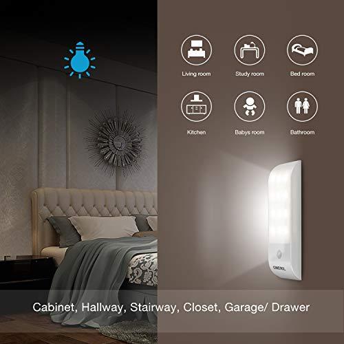 Luce Notte LED OMERIL USB Ricaricabile Luce Armadio con Sensore di Movimento e Luce 3 Modalit di Illuminazione Luce Notte con Striscia Magnetica Adesiva per Armadio Corridoio Cucina Scale Car