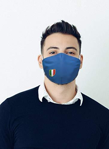 Mascherina in tessuto lavabile stampata 100 Made in Tuscany taglia uomo fantasie varie Scudetto Italia