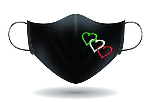 Mascherina per Viso con elastici lavabile e sterilizzabile Unisex Made in Italy CUORI TRICOLORI