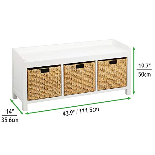 mDesign Baule cassapanca da corridoio  Elegante mobile ingresso perfetto per tutte le stanze  Pratica panca scarpiera in legno con 3 cestini in giacinto dacqua  bianconaturale