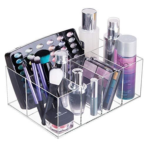 mDesign Organizer per cosmetici  Box a 5 scomparti per riordinare trucchi flaconi e altri accessori da bagno  trasparente