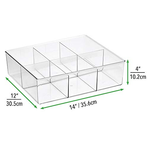 mDesign Set da 2 contenitori portaoggetti a 6 scomparti  Pratiche scatole trasparenti per la camera da letto  Porta oggetti in plastica senza BPA ideali per abbigliamento e accessori  trasparente