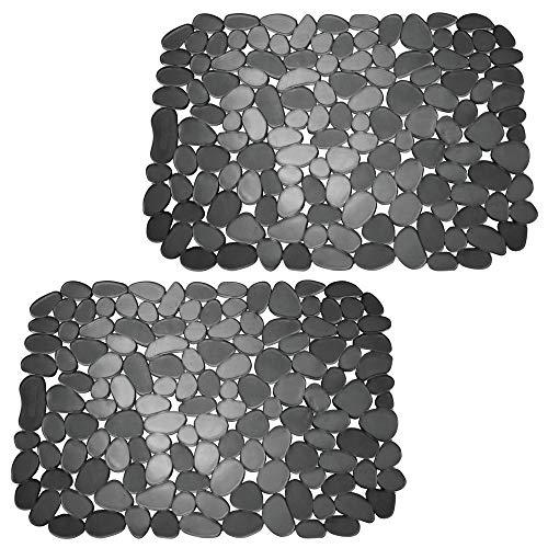mDesign Set da 2 Tappetini per il lavandino  Tappetino protettivo pratico di misura adattabile  Tappetino lavello in PVC per proteggere lavabo e stoviglie  nero