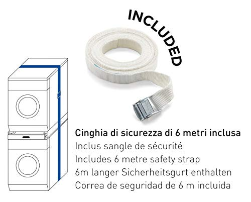 Meliconi Base Torre Pro Kit di Sovrapposizione Universale per Lavatrice e Asciugatrice con Ripiano Estraibile e Cinghia di Sicurezza Inclusa Made in Italy Bianco M