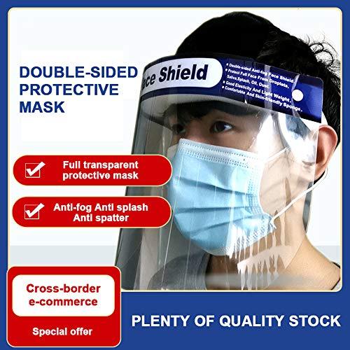 Merymall 5 Pezzi Pieno Volto Protettivo Scudo Visiera Regolabile Trasparente Viso Scudo per Protezione AntipolvereAnti Gocciolina per Uomo Donna