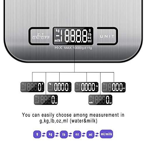 MOSUO Bilancia Cucina Digitale con Cavetto USB Bilancia Pesa Alimenti 10kg1g Bilancia da Cucina Bilancia di Precisione con Funzione Tare LCD Display Acciaio Inossidabile Batterie Incluse