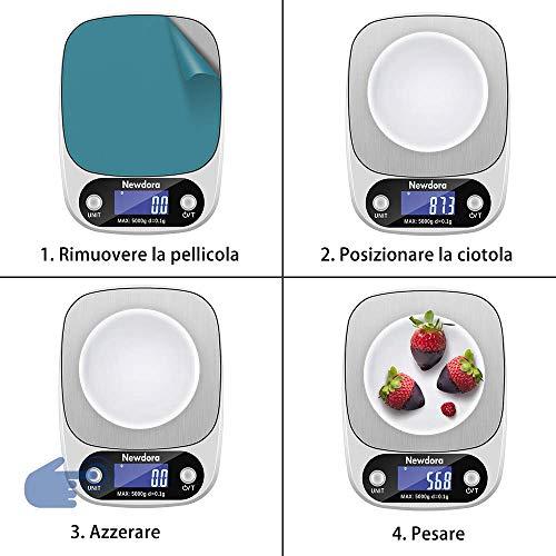 Newdora Bilancia da Cucina Smart Digitale con Funzione Tare5kg11 lbs Professionale Acciaio Inox Alta Precision Bilancia Elettronica per la Casa e la CucinaArgento2 Batteries Incluse