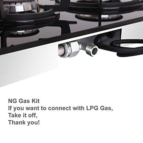 NOXTON Piano Cottura a Gas Incorporato da 30 cm 2 fuochi Fornello Domino in Vetro Nero con Kit GPL e FFD Classe energetica A