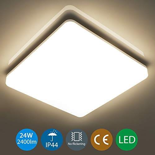 Oeegoo 24W LED Plafoniera Lampada da soffitto quadrata IP44 Impermeabile Illuminazione 2050LM LED Lampada per Soggiorno Sala da pranzo Camera da letto Bagno Cucina Balcone Corridoio 4000K
