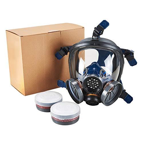 OHMOTOR Respiratore Pieno Facciale per vapori organici Maschera di protezione per il viso per vernice Polvere Certificazione CE Respiratore