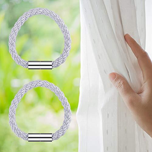 OOTSR Fermatende Magnetico Tende Holdback Forta Magnetica Fermagli per Tende per Ufficio Domestico Camera da Letto Decorazione Soggiorno Trattamento Finestra Grigio