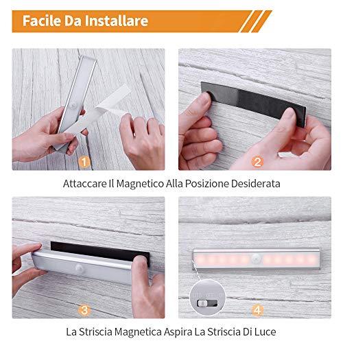 OUSFOT Luci Armadio Guardaroba con Sensore di Movimento Luce per Armadio con Sensore USB Ricaricabile 10 LED Striscia Magnetica Adesivaper ArmadioCamera da letto Bianca Calda