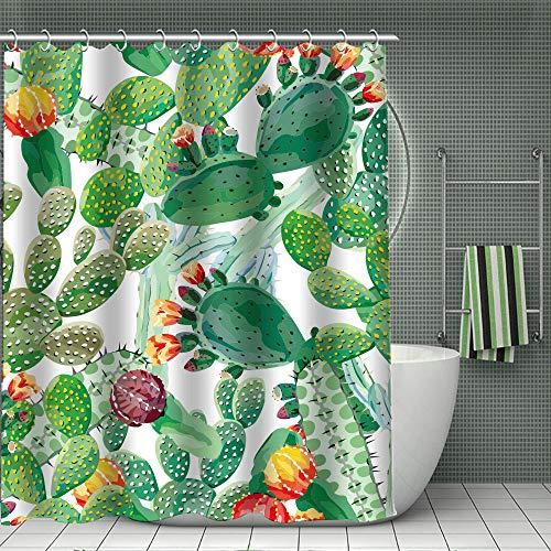 Poliestere Bagno Tende da Sole Resistente alle Muffe Facile da Pulire Tenda Doccia Antimuffa 180x180 cm Cactus