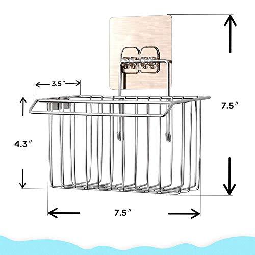 Porta Spugna Lavello con adhesive Bogeer Organizer Cucina Lavello parete Cestino Appeso Contenitore Compatto per lavello Acciaio Inox Spazzolato Sink Tidy
