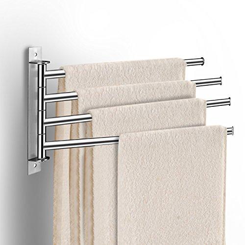 qobobo Portasciugamani a parete in acciaio inox Porta Asciugamani Rack Gancio da muro con 4 braccia Rotazione di 180  Bagno Organizzatore argento