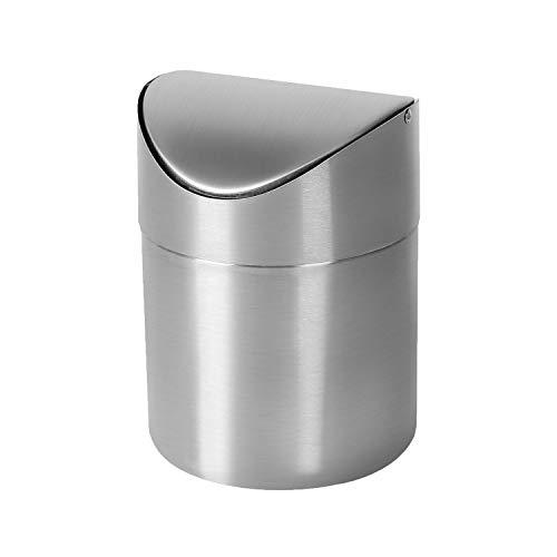 Quality Home Pattumiera Desktop in Acciaio Inox Mini Contenitore Contenitore Cucina Trucco Bagno Camera da Letto Tavolo controsoffitto Cestino