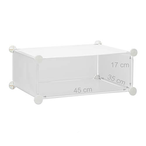 Relaxdays 1002196249 Armadio Scarpiera in Plastica a Incastro Chiuso 6 Scomparti HxLxP 107 x 49 x 37 cm Bianco
