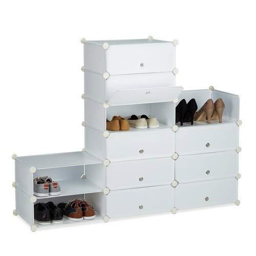 Relaxdays 1002197949 Scarpiera Armadio Componibile Plastica Scaffale con Ante 12 Scomparti HxLxP 108 x 94 x 37 cm Bianco 24 pairs