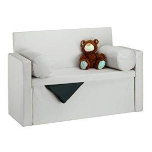 Relaxdays 10022872550 Panca con Schienale Reclinabile Cuscini Pouf Contenitore per Ingresso Corridoio 75x115x47cm Crema