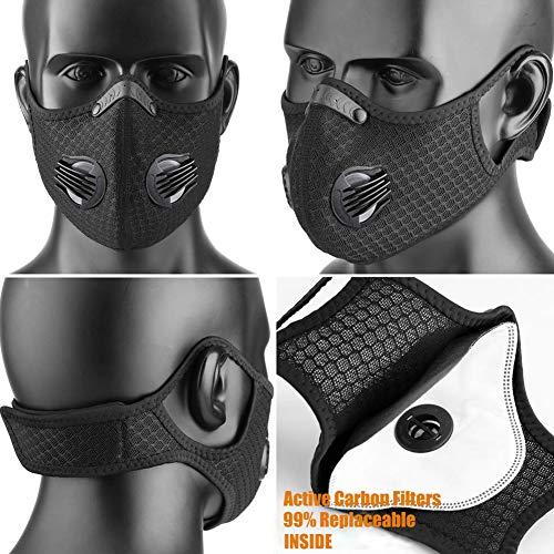 salipt Maschera antipolvere con Carbone Attivo Filtro Mascherina Moto Maschera Allenamento Maschera Antivento Antipolvere Mezza Faccia per Ciclismo Bici Sci