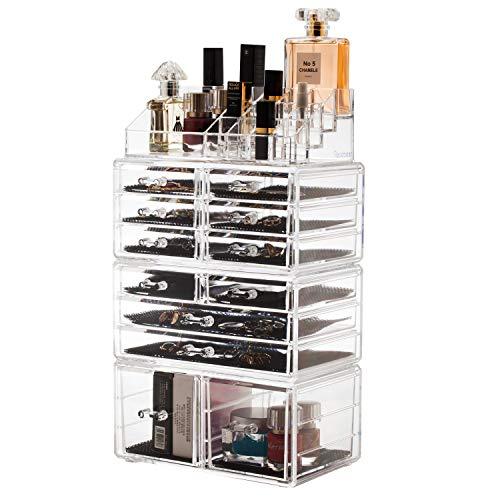 Scatola cosmetici trucchi e makeup con 12 cassettiere trasparente