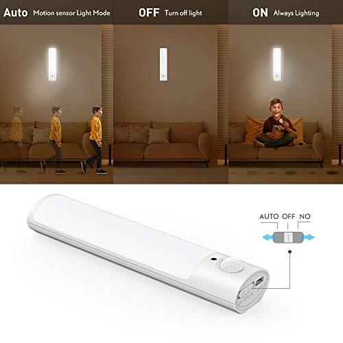 SECRUI  Luce notturna con sensore di movimento ricaricabile tramite USB a batteria LED per interni con magnete rimovibile per camera da letto armadio corridoio cucina  Bianco caldo