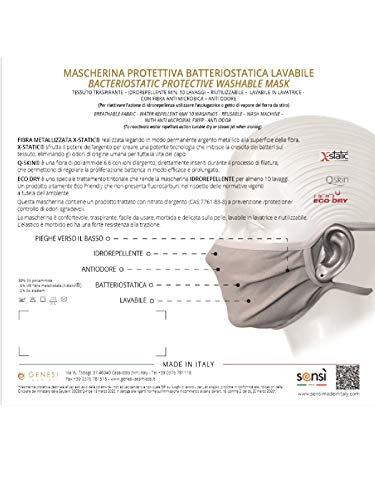 SENSI Mascherina PROTETTIVA BIMBOA Batteriostatica Idrorepellente LAVABILE Made in Italy  CONFEZIONE DA 4 MASCHERINE