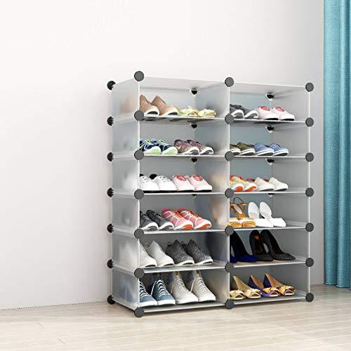 SIMPDIY Scarpiera Plastica Grande Scatola portaoggetti per Sneaker 2x6 Cubes 93x37x108cm Organizzatore di Scarpe Sistema di scaffalature